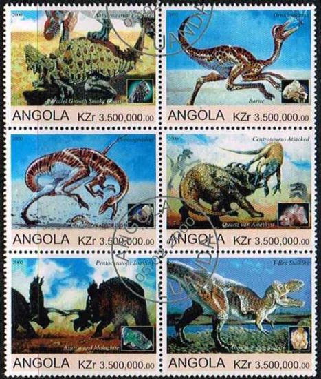 恐竜・古生物の切手/アンゴラ2000年6種連刷(済)