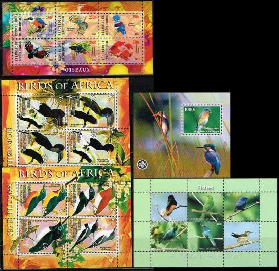 (80012) 鳥の切手/5シートセット