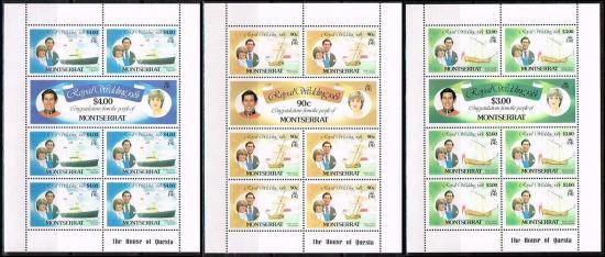 【特価】ダイアナ妃成婚記念の切手/モントセラト1981年3シート完