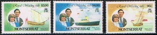 【処分品】ダイアナ妃成婚記念の切手/モントセラト1981年3種