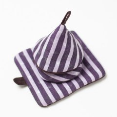 かすり鍋つかみ&鍋敷きセット purple stripe*choco
