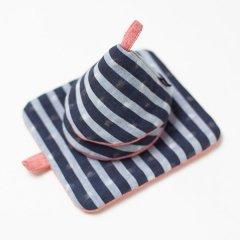 かすり鍋つかみ&鍋敷きセット blue stripe*pink