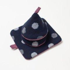 かすり鍋つかみ&鍋敷きセット navy dot*pink