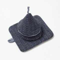 かすり鍋つかみ&鍋敷きセット firefly*blue stripe