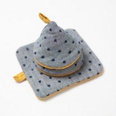 かすり鍋つかみ&鍋敷きセット gray point*yellow