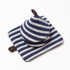 かすり鍋つかみ&鍋敷きセット navy h-stripe*choco