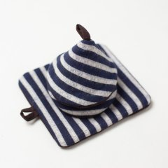 かすり鍋つかみ&鍋敷きセット navy v-stripe*choco