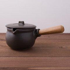 馬場勝文陶工房 耐熱 ふた付きミルクパン 黒