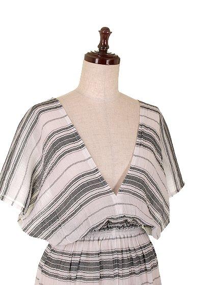 LOVESTITCHのJuliettaCaftanDress/海外ファッションが好きな大人カジュアルのためのLOVESTITCH(ラブステッチ)のワンピースやマキシワンピース。サラッとした肌触りのボーダーマキシ。涼しげな質感と透け感があります。/main-5