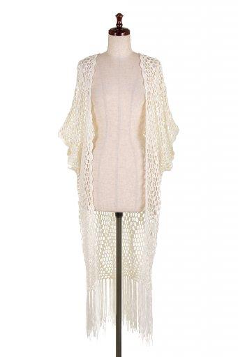 海外ファッションや大人カジュアルにオススメなインポートセレクトアイテムL.A.直輸入のOpen Knit Fringe Cardigan Top (Ivory)