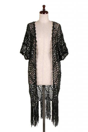 海外ファッションや大人カジュアルにオススメなインポートセレクトアイテムL.A.直輸入の Open Knit Fringe Cardigan Top (Black)