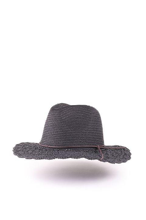 L.A.直輸入のCrochetWideBrimPanama(Black)大人カジュアルに最適な海外ファッションのothers(その他インポートアイテム)のハット&キャップや。ブリム(つば)がカギ編みになったストローハット。様々な顔の形にマッチするタイプのシルエットです。/main-1
