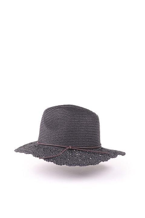 L.A.直輸入のCrochetWideBrimPanama(Black)大人カジュアルに最適な海外ファッションのothers(その他インポートアイテム)のハット&キャップや。ブリム(つば)がカギ編みになったストローハット。様々な顔の形にマッチするタイプのシルエットです。/main-2