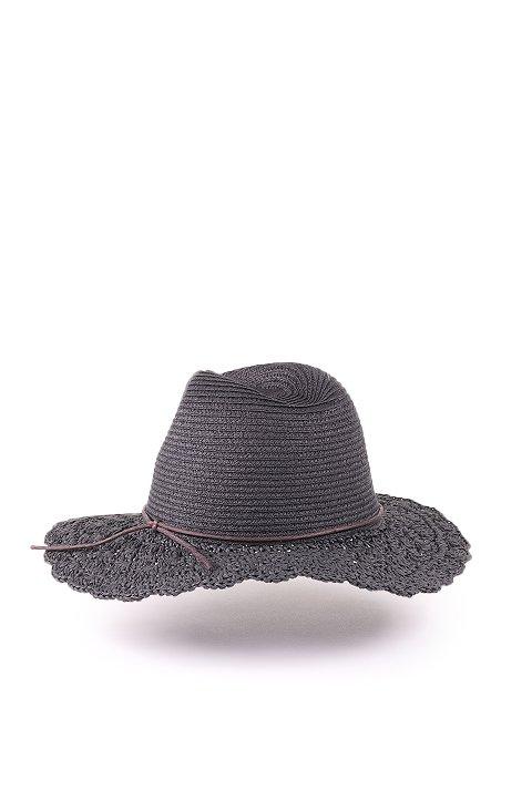 L.A.直輸入のCrochetWideBrimPanama(Black)大人カジュアルに最適な海外ファッションのothers(その他インポートアイテム)のハット&キャップや。ブリム(つば)がカギ編みになったストローハット。様々な顔の形にマッチするタイプのシルエットです。/main-3