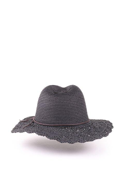 L.A.直輸入のCrochetWideBrimPanama(Black)大人カジュアルに最適な海外ファッションのothers(その他インポートアイテム)のハット&キャップや。ブリム(つば)がカギ編みになったストローハット。様々な顔の形にマッチするタイプのシルエットです。/main-4
