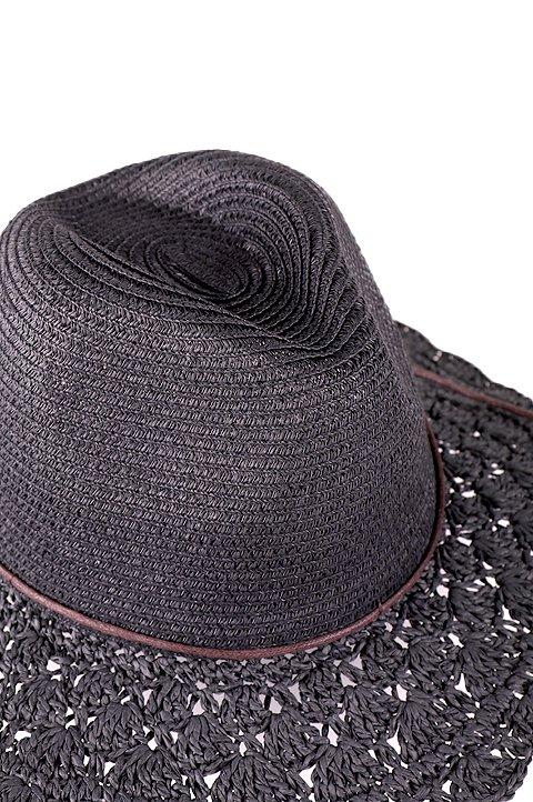 L.A.直輸入のCrochetWideBrimPanama(Black)大人カジュアルに最適な海外ファッションのothers(その他インポートアイテム)のハット&キャップや。ブリム(つば)がカギ編みになったストローハット。様々な顔の形にマッチするタイプのシルエットです。/main-5