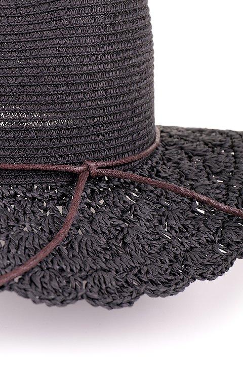 L.A.直輸入のCrochetWideBrimPanama(Black)大人カジュアルに最適な海外ファッションのothers(その他インポートアイテム)のハット&キャップや。ブリム(つば)がカギ編みになったストローハット。様々な顔の形にマッチするタイプのシルエットです。/main-6
