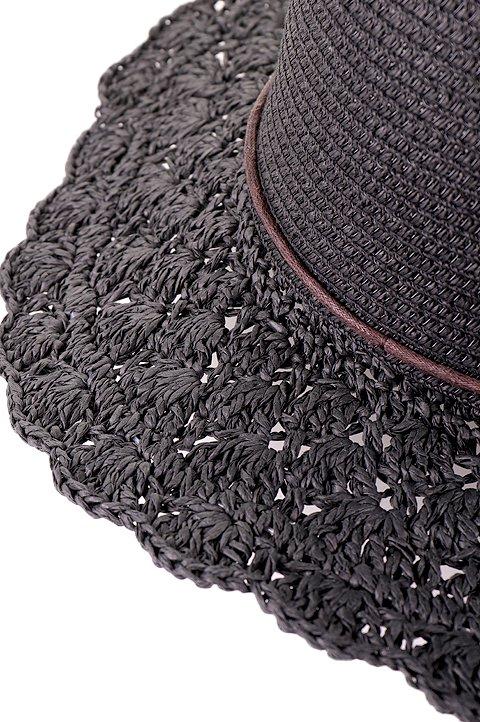 L.A.直輸入のCrochetWideBrimPanama(Black)大人カジュアルに最適な海外ファッションのothers(その他インポートアイテム)のハット&キャップや。ブリム(つば)がカギ編みになったストローハット。様々な顔の形にマッチするタイプのシルエットです。/main-7