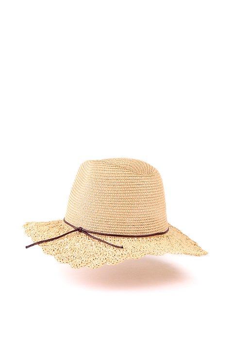 L.A.直輸入のCrochetWideBrimPanama(Natural)大人カジュアルに最適な海外ファッションのothers(その他インポートアイテム)のハット&キャップや。ブリム(つば)がカギ編みになったストローハット。様々な顔の形にマッチするタイプのシルエットです。/main-3