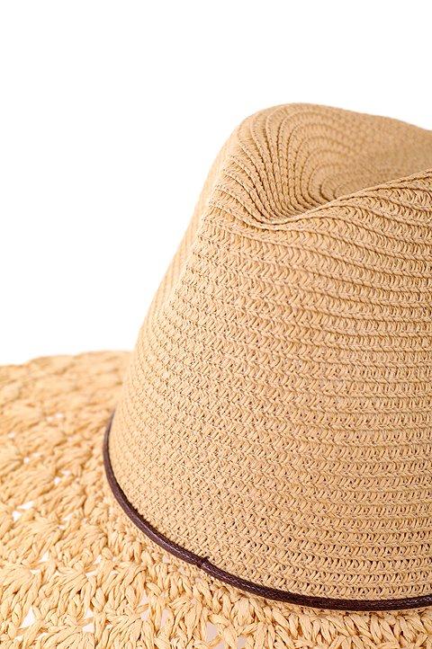 L.A.直輸入のCrochetWideBrimPanama(Natural)大人カジュアルに最適な海外ファッションのothers(その他インポートアイテム)のハット&キャップや。ブリム(つば)がカギ編みになったストローハット。様々な顔の形にマッチするタイプのシルエットです。/main-5