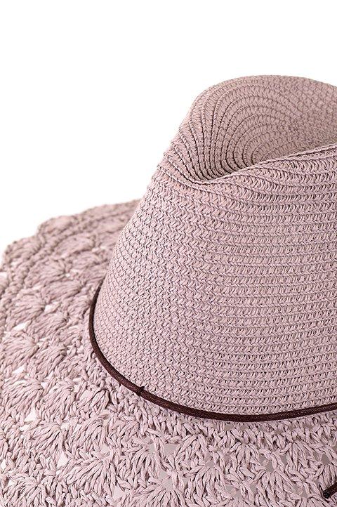 L.A.直輸入のCrochetWideBrimPanama(Gray)大人カジュアルに最適な海外ファッションのothers(その他インポートアイテム)のハット&キャップや。ブリム(つば)がカギ編みになったストローハット。様々な顔の形にマッチするタイプのシルエットです。/main-5