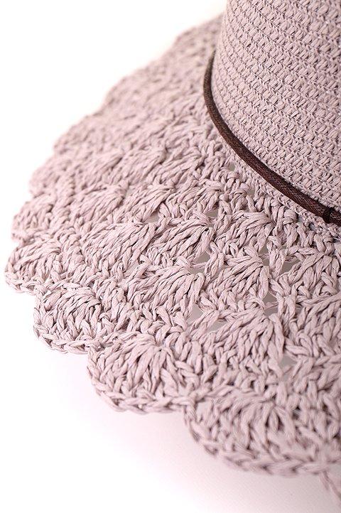 L.A.直輸入のCrochetWideBrimPanama(Gray)大人カジュアルに最適な海外ファッションのothers(その他インポートアイテム)のハット&キャップや。ブリム(つば)がカギ編みになったストローハット。様々な顔の形にマッチするタイプのシルエットです。/main-7