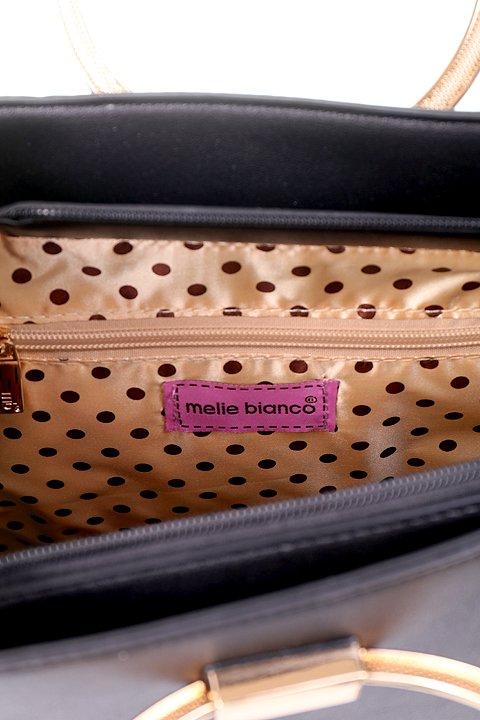 meliebiancoのCameron(Black)/海外ファッション好きにオススメのインポートバッグとかばん、MelieBianco(メリービアンコ)のバッグやハンドバッグ。なめらかなマテリアルを使用したラウンドタイプのハンドバッグ。丸いボディと丸いハンドルがアンティーク風な雰囲気を醸し出しています。/main-8