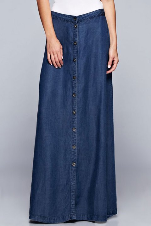 LOVESTITCHのJoanieMaxiSkirt(Indigo)テンセルデニム・マキシスカート/海外ファッションが好きな大人カジュアルのためのLOVESTITCH(ラブステッチ)のボトムやスカート。薄手のテンセルデニムを使用したマキシスカート。テロテロの素材感で季節を問わず大活躍。/main-10