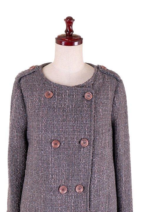 Italy直輸入のWovenKnitMidiCoat大人カジュアルに最適な海外ファッションのothers(その他インポートアイテム)のアウターやコート。粗めの糸で織り上げた生地のミディコート。ピーコートの様なデザインですが、上質で上品な質感です。/main-13