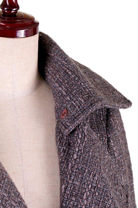 Italy直輸入のWovenKnitMidiCoat大人カジュアルに最適な海外ファッションのothers(その他インポートアイテム)のアウターやコート。粗めの糸で織り上げた生地のミディコート。ピーコートの様なデザインですが、上質で上品な質感です。/main-8