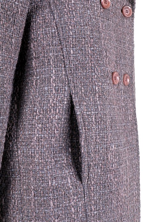 Italy直輸入のWovenKnitMidiCoat大人カジュアルに最適な海外ファッションのothers(その他インポートアイテム)のアウターやコート。粗めの糸で織り上げた生地のミディコート。ピーコートの様なデザインですが、上質で上品な質感です。/main-9