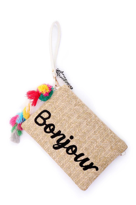 meliebiancoのSt.TropezBonjourClutch/海外ファッション好きにオススメのインポートバッグとかばん、MelieBianco(メリービアンコ)のバッグやクラッチバッグ。夏に大活躍しそうなストロークラッチバッグ。ビーガンレザーと同じ素材を編みこんでいるので天然素材の物よりもしっかりしています。/main-6