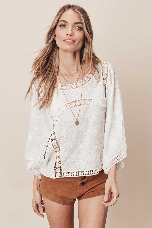 LOVESTITCHのBenjiTop/海外ファッションが好きな大人カジュアルのためのLOVESTITCH(ラブステッチ)のトップスやシャツ・ブラウス。全面に刺繍が施された7分袖のシースルーブラウス。ライン状のレースが可愛いデザインです。/main-5