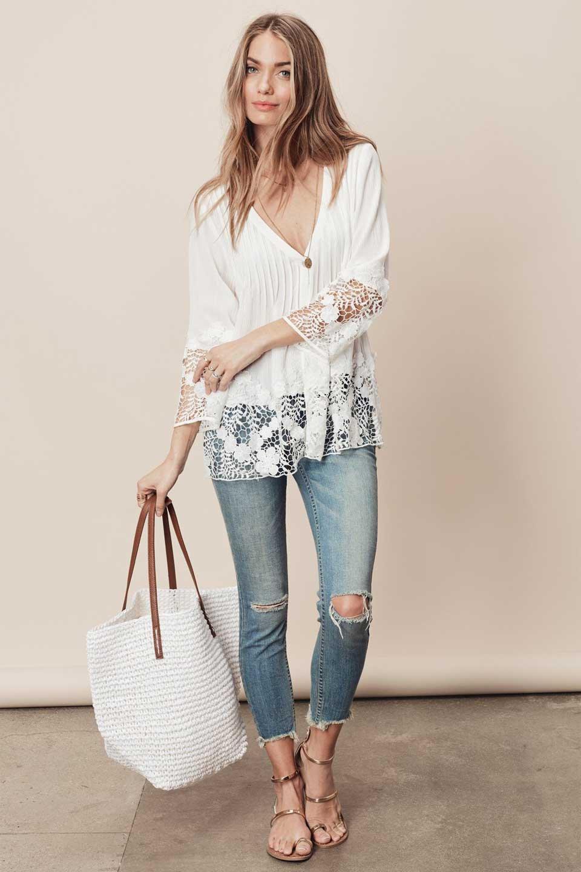 LOVESTITCHのRashidaBlouse/海外ファッションが好きな大人カジュアルのためのLOVESTITCH(ラブステッチ)のトップスやシャツ・ブラウス。袖と裾のカットワークレースがとても可愛いブラウス。胸元のピンタックや広めのVゾーンからの一つボタンやレースのシースルー具合・・・どれもこれもカワイイだらけのブラウスです。/main-5