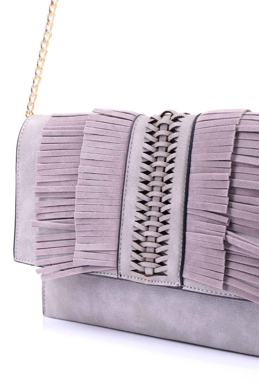 meliebiancoのRobbie(Gray)2WAYショルダーバッグ/海外ファッション好きにオススメのインポートバッグとかばん、MelieBianco(メリービアンコ)のバッグやショルダーバッグ。フラップの編み込みとフリンジが可愛いショルダーバッグ。凝ったフラップのデザインですが、同色なのでやり過ぎ感は感じられません。/main-5