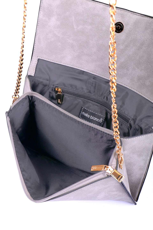 meliebiancoのRobbie(Gray)2WAYショルダーバッグ/海外ファッション好きにオススメのインポートバッグとかばん、MelieBianco(メリービアンコ)のバッグやショルダーバッグ。フラップの編み込みとフリンジが可愛いショルダーバッグ。凝ったフラップのデザインですが、同色なのでやり過ぎ感は感じられません。/main-8