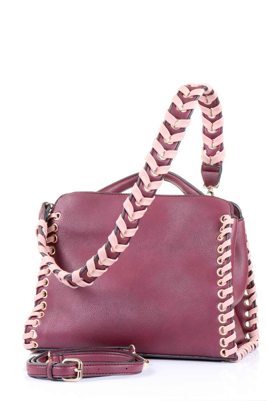 meliebiancoのDelisia(Burgundy)/海外ファッション好きにオススメのインポートバッグとかばん、MelieBianco(メリービアンコ)のバッグやハンドバッグ。バイカラーのアクセントが可愛いお手頃サイズのハンドバッグ。広い荷室は中央のポケットがパーテションになっています。/main-5