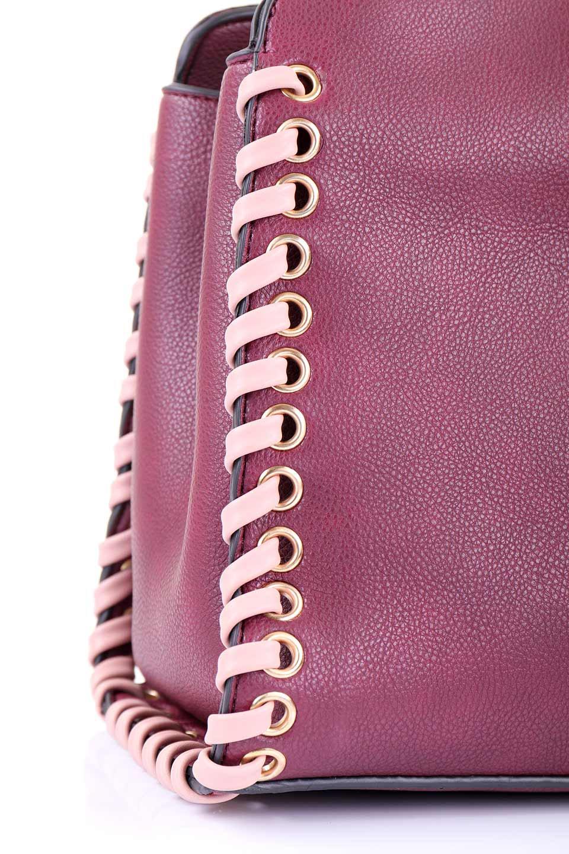 meliebiancoのDelisia(Burgundy)/海外ファッション好きにオススメのインポートバッグとかばん、MelieBianco(メリービアンコ)のバッグやハンドバッグ。バイカラーのアクセントが可愛いお手頃サイズのハンドバッグ。広い荷室は中央のポケットがパーテションになっています。/main-7