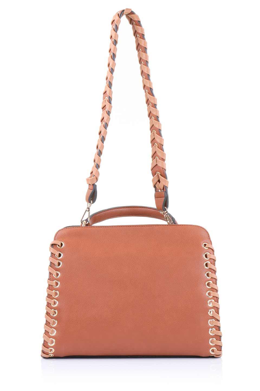 meliebiancoのDelisia(Saddle)2WAYハンドバッグ/海外ファッション好きにオススメのインポートバッグとかばん、MelieBianco(メリービアンコ)のバッグやハンドバッグ。バイカラーのアクセントが可愛いお手頃サイズのハンドバッグ。広い荷室は中央のポケットがパーテションになっています。/main-5