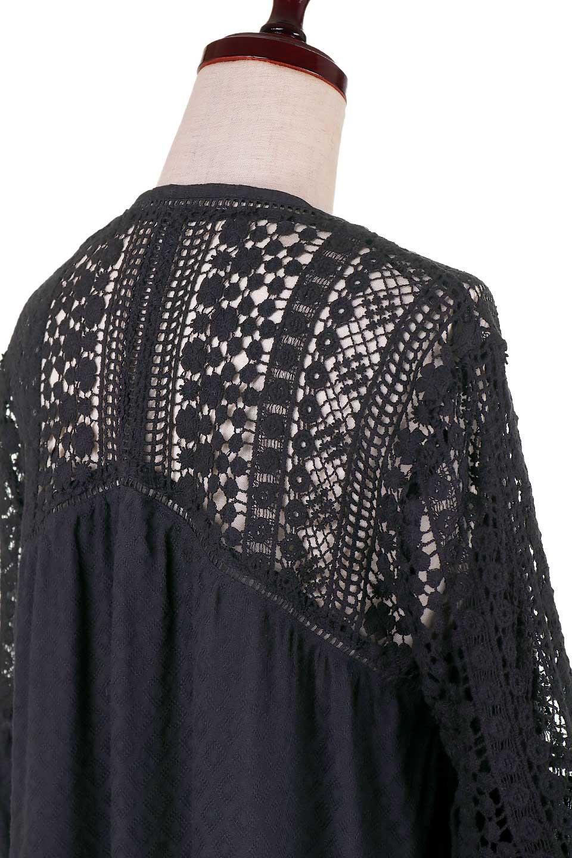 LOVESTITCHのAvaBlouse(Black)ベルスリーブ・レースブラウス/海外ファッションが好きな大人カジュアルのためのLOVESTITCH(ラブステッチ)のトップスやシャツ・ブラウス。立体感のあるジャカート織とクロシェレースのブラウス。暑い夏の日でも涼しげな絶妙な袖の長さです。/main-10