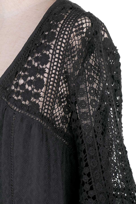 LOVESTITCHのAvaBlouse(Black)ベルスリーブ・レースブラウス/海外ファッションが好きな大人カジュアルのためのLOVESTITCH(ラブステッチ)のトップスやシャツ・ブラウス。立体感のあるジャカート織とクロシェレースのブラウス。暑い夏の日でも涼しげな絶妙な袖の長さです。/main-11