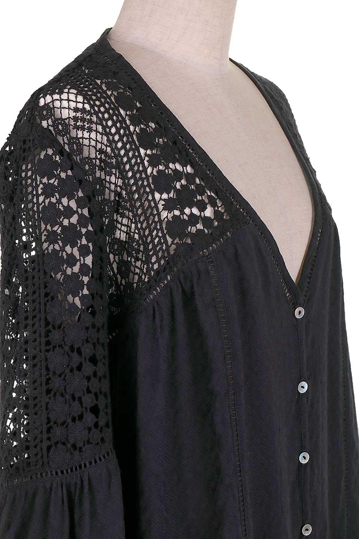 LOVESTITCHのAvaBlouse(Black)ベルスリーブ・レースブラウス/海外ファッションが好きな大人カジュアルのためのLOVESTITCH(ラブステッチ)のトップスやシャツ・ブラウス。立体感のあるジャカート織とクロシェレースのブラウス。暑い夏の日でも涼しげな絶妙な袖の長さです。/main-9