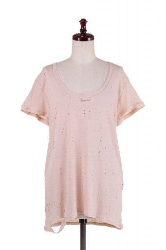 海外ファッションや大人カジュアルにオススメなインポートセレクトアイテムL.A.直輸入のDistressed Scoop Neck Top ダメージ加工Tシャツ
