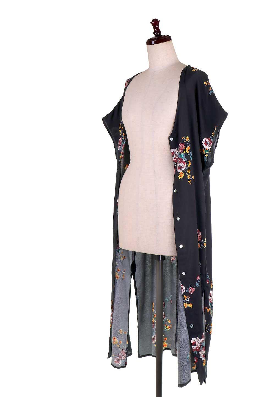 LOVESTITCHのBardotDress(Black)花柄ミディワンピース/海外ファッションが好きな大人カジュアルのためのLOVESTITCH(ラブステッチ)のワンピースやミディワンピース。セクシーなスリットが魅力のシャツワンピース。シャツワンピですが、ボタンを開けてロングカーデ風の着こなしにも対応。/main-11