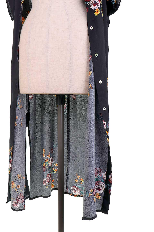 LOVESTITCHのBardotDress(Black)花柄ミディワンピース/海外ファッションが好きな大人カジュアルのためのLOVESTITCH(ラブステッチ)のワンピースやミディワンピース。セクシーなスリットが魅力のシャツワンピース。シャツワンピですが、ボタンを開けてロングカーデ風の着こなしにも対応。/main-12