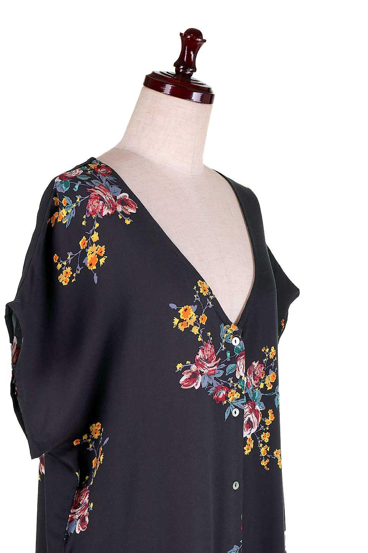 LOVESTITCHのBardotDress(Black)花柄ミディワンピース/海外ファッションが好きな大人カジュアルのためのLOVESTITCH(ラブステッチ)のワンピースやミディワンピース。セクシーなスリットが魅力のシャツワンピース。シャツワンピですが、ボタンを開けてロングカーデ風の着こなしにも対応。/main-9