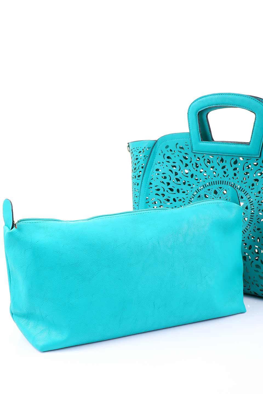 meliebiancoのNancy(Turquoise)/海外ファッション好きにオススメのインポートバッグ、MelieBianco(メリービアンコ)のバッグやハンドバッグ。ソフトなビーガンレザーにレーザーカット加工を施した涼しげなトートバッグ。付属するインナーバッグの方にはメリービアンコ定番のドット柄の裏地とポケットが付いています。/main-5