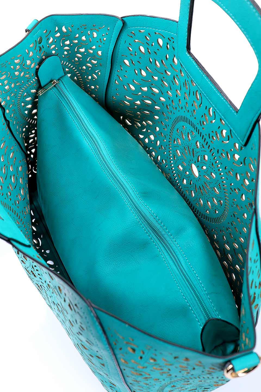 meliebiancoのNancy(Turquoise)/海外ファッション好きにオススメのインポートバッグ、MelieBianco(メリービアンコ)のバッグやハンドバッグ。ソフトなビーガンレザーにレーザーカット加工を施した涼しげなトートバッグ。付属するインナーバッグの方にはメリービアンコ定番のドット柄の裏地とポケットが付いています。/main-9
