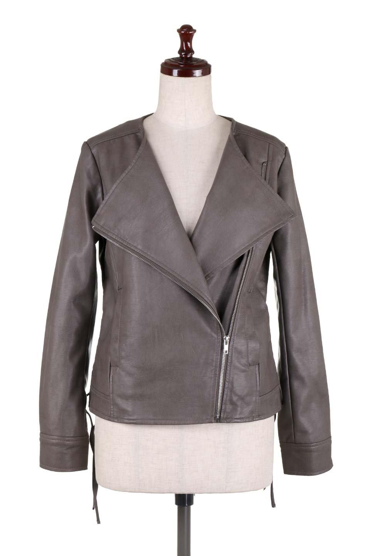 LaceUpBikersJacketレースアップ・ライダースジャケット大人カジュアルに最適な海外ファッションのothers(その他インポートアイテム)のアウターやジャケット。大きなリブの襟が特徴のニットコート。オーバーサイズ気味なデザインですが横に広がらず、それとは逆に体を細く見せるようなシルエット。/main-10