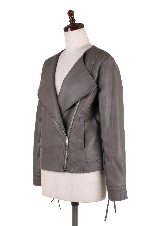 LaceUpBikersJacketレースアップ・ライダースジャケット大人カジュアルに最適な海外ファッションのothers(その他インポートアイテム)のアウターやジャケット。大きなリブの襟が特徴のニットコート。オーバーサイズ気味なデザインですが横に広がらず、それとは逆に体を細く見せるようなシルエット。/main-11